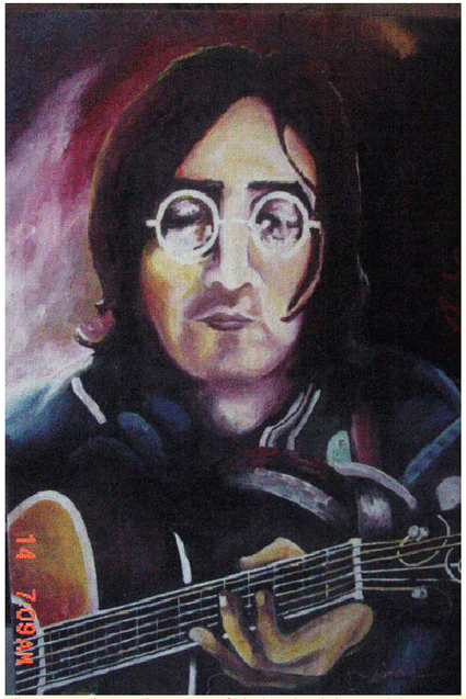 John Lennon. Oil on canvass. (now we know he was a fan). The only painting he made in canvass. He did this just to try painting in canvass.
