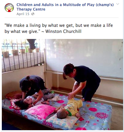 Photo grabbed from Children and Adults in a Multitude of Play (champ's) Therapy Centre page