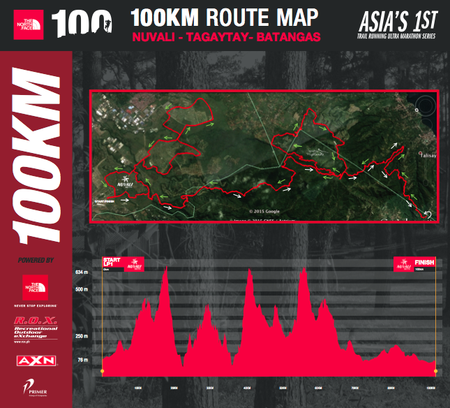 TNF100 2015 100KM Race Route Map