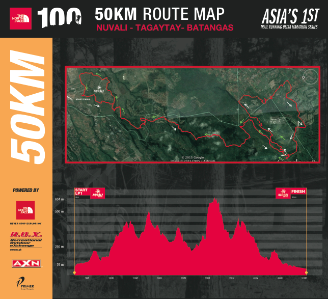 TNF100 2015 50KM Race Route Map